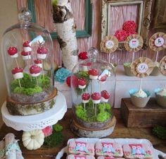 Woodlands party theme (love the mushroom marshmallows)