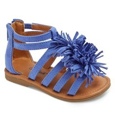 Toddler Girls' Peggy Gladiator Sandals With Large Fringe Poufs Cat & Jack - Blue 8, Toddler Girl's
