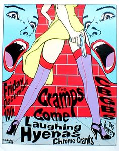 The Cramps. Poster for a CBGB live with Laughing Hyenas, Chrome Cranks & Come.