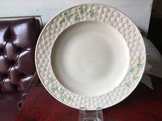 "Irish Belleek Shamrock Basket Weave Dinner Plate 10 1/2"" 2nd Generation Green Mk…"