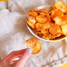 Crispy Homemade Sweet Potato Chips made in the Dehydrator