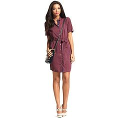 Tommy Hilfiger women's dress. The shirtdress has never been lovelier thanks to a delicate print and demure little collar. Rather than our standard woven cotton, it's comprised of a smooth, silky fabric that drapes just beautifully. •	Slim fit.•	100% synthetic.•	Self belt, contrast placket, button cuff detail.•	Machine washable.•	Imported.
