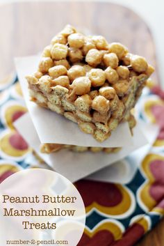 Peanut Butter Marshmallow Treats with Peanut Butter Captain Crunch! (Love that cereal!)