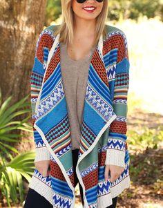 Blue Rust Turquoise Aztec Tribal Knit Thigh Length Cozy Cardigan Long Sleeves  #ClothingBucket #Cardigan