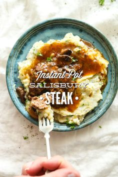 An easy, homemade salisbury steak recipe that's made in the Instant Pot. Serve the steak and gravy over mashed potatoes.