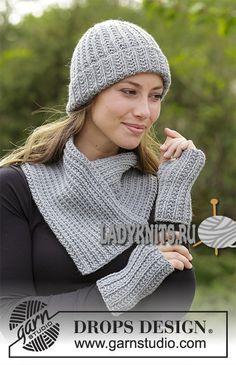 Вязание теплой шапки с отворотом в комплекте с воротником и митенками