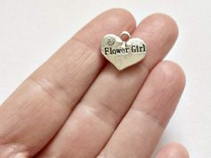 4 Flower Girl Charms - Flower Girl Pendants - Double Sided - #S0284 by StashofCharms on Etsy
