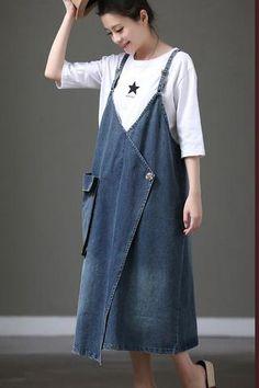 Summer Denim Plus Size A Line Sleeveless Dress For Women – Plus Size Fashion Stylish Plus Size Clothing, Plus Size Outfits, Plus Size Fashion, Suspenders For Women, Pants For Women, Sewing Dress, Plus Size Kleidung, Summer Denim, Spring Summer