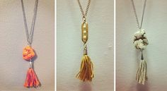 """I made these three """"Rock & Tassel"""" necklaces for a giveaway on our blog this week. I hope they find good homes :)"""
