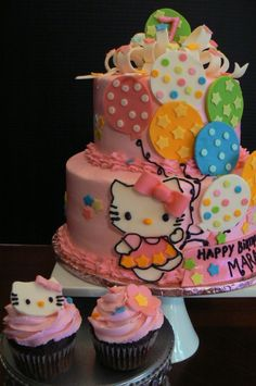 Hello Kitty Cake and Cupcakes....my birthday is in a couple months....I want a Hello Kitty cake!!!!