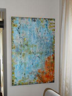 Acryl auf Leinwand, abstrakte Malerei, 60 x1,20m, 2016, Yvonne Fuchs
