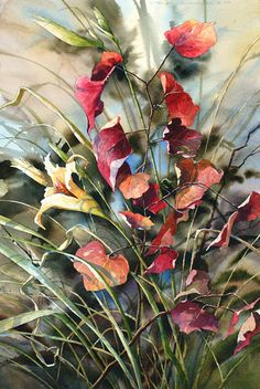 Daylily and Fall Leaves by Nancy Taylor Stonington