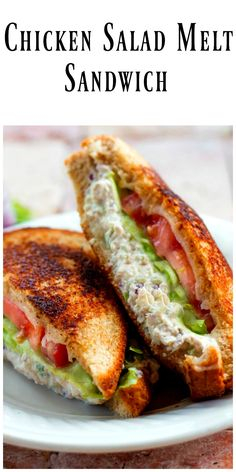 Chicken Salad Melt Sandwich- kick an ordinary chicken salad sandwich up to extraordinary by grilling the bread and adding cheese.  via @https://www.pinterest.com/BunnysWarmOven/bunnys-warm-oven/