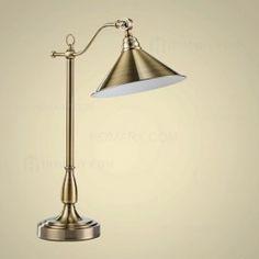 Vintage Metal Bell Shade Single-Light Desk Lamp in Antique Brass