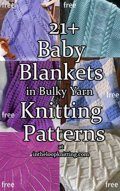 Knitting Patterns for Baby Blankets in Bulky, Chunky, and Super Bulky Yarn for Quick Knits. Most patterns are free Knitting Patterns for Baby Blankets in Bulky, Chunky, and Super Bulky Yarn for Quick Knits. Easy Knit Baby Blanket, Free Baby Blanket Patterns, Crochet For Beginners Blanket, Knitted Baby Blankets, Knitted Afghans, Baby Afghans, Cozy Blankets, Baby Patterns, Chunky Knitting Patterns