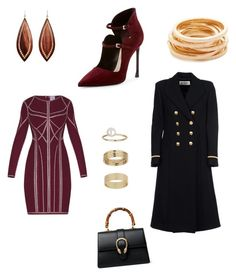 """""""cozy date night 💋🍸"""" by yummycaramel on Polyvore featuring Yves Saint Laurent, Hervé Léger, Christian Dior, Miss Selfridge, Gucci, Mark Davis and Kenneth Jay Lane"""