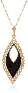 """Amazon.com: 18K Yellow Gold Plated Sterling Silver Epoxy Elongated Pear Shape Pendant Necklace, 18"""": Jewelry"""