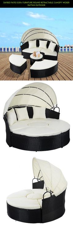 Daybed Patio Sofa Furniture Round Retractable Canopy Wicker Rattan Outdoor #gadgets #patio #technology #parts #products #fpv #daybed #shopping #tech #kit #racing #plans #drone #camera #furniture