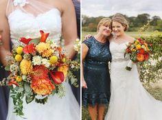 Bridal bouquet of mango calla lilies, craspedia, pincushion protea, and dahlia - all of fall's finest! Barbara's Brides. Pecan Grove @ Saltlick. Diana Lott.
