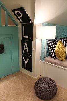 Jumbo scrabble letters, knit pouf, blue play house, cute kids space | Katie Grace