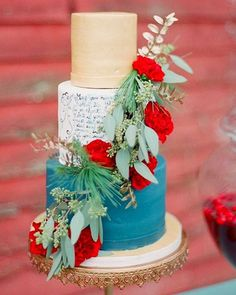 Now this is a wedding cake with personality! We are crushing on these unexpected color pairings . Delicious and beautiful! Via @100_layercake  #weddingcake #details #cake #weddingcake