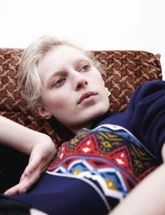 Willy Vanderperre and Olivier Rizzo shoot our Summer 14 cover star Julia Nobis wears Jumper and earring Louis Vuitton.