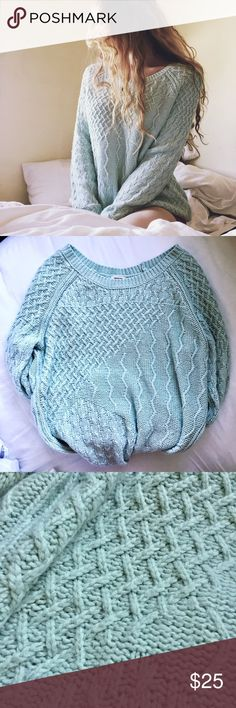 ✨ MINT BLUE Cable Knit Boho Sweater Oversize Comfy Size XL great condition! Super soft. I'm a medium and this is the perfect oversized sweater for me. It has little sparkly accents in the knit but you can't see them from more than a foot away. The camera didn't even pick them up in the photo. Sweaters Crew & Scoop Necks