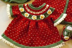 """Strawberry Shortcake Dress! This pattern is available as a free Ravelry download Knitting Pattern to knit this adorable baby dress in sizes from 14"""" to 24"""" Chest. Match..."""