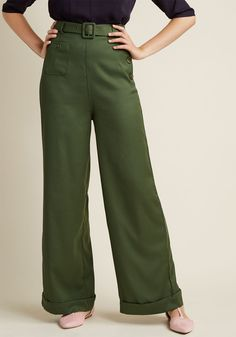Collectif Life's Work Wide Leg Pants in Fern in XS, #ModCloth