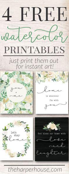 Free Printable Art Prints | watercolor flower prints | instant art | free digital prints | #freeprintable #homedecor #gallerywall #art #farmhousestyle