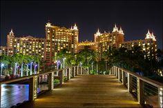 Bridge to the Royal Towers @ Atlantis. Beautiful at night. Bahamas Honeymoon, Bahamas Vacation, Bahamas Cruise, Nassau Bahamas, Vacation Spots, Caribbean Cruise, Atlantis Resort Bahamas, Dubai, Beach Rocks