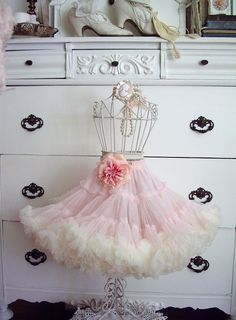 """Look what I just """"won"""" from Jenn ~ """"Sweeteyecandycreations""""! Is this just the cutest, frilliest little petticoat ever? Thank you so much Jenn, you are a doll! Petticoat Junction, Wedding Dress Patterns, Frou Frou, Everything Pink, Vintage Lingerie, Dress Form, Lolita Fashion, Shabby Chic Decor, Petticoats"""