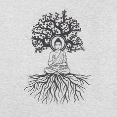 Grey Buddha Meditation Tee T-shirts Hand Made Fair Trade Siesta These simple grey t shirts feature a bold drawing of Buddha sitting beneath the Bodhi tree. Buddha Tattoo Design, Buddha Tattoos, Buddhism Tattoo, Hindu Tattoos, Symbol Tattoos, Buddha Drawing, Buddha Painting, Buddha Meditation, Meditations Tattoo