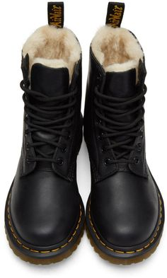 Martens for Women Collection Dr. Martens - Black Fur-Lined Serena Boots Dr Shoes, Sock Shoes, Cute Shoes, Me Too Shoes, Shoe Boots, Shoe Bag, Calf Boots, Dr Martens Winter Boots, Doc Martens Boots