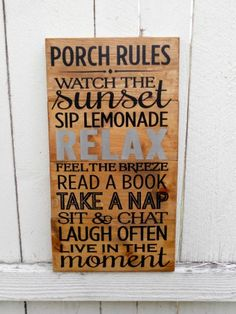 12x22 Porch Rules Sign - Patio Sign - Deck Decor