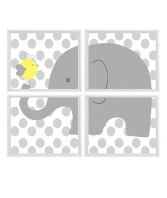 Elephant Nursery Art Polka Dots Gray Yellow by RizzleandRugee, $50.00