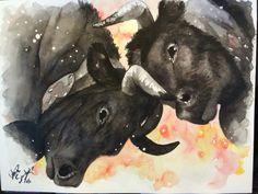 Commande. Vaches d'Hérens. Watercolors #valerie_kodak Livestock, Cows, Tree Branches, Watercolors, Moose Art, Art Pieces, Illustration, How To Make, Painting