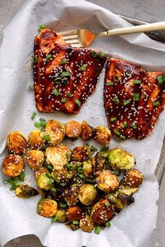 Asian BBQ Salmon And Brussels Sprouts For Two - Dash of Mandi Best Salmon Recipe, Salmon Recipes, Fish Recipes, Seafood Recipes, Asian Recipes, Beef Recipes, Yummy Recipes, Healthy Dinner Recipes, Cooking Recipes