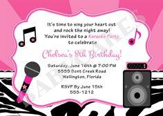 Karaoke party invitation girl karaoka birthday rockstar party karaoke party birthday invitation diy print your own matching party printables available stopboris Image collections