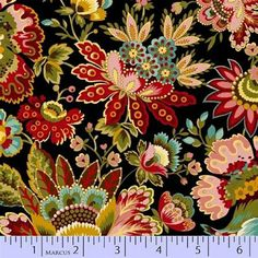 Marcus Fabrics, M for Mystery By Faye Burgos. Jacobean Floral Black