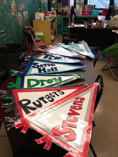 She made this for each hallway and had teachers and staff refer to that hallway by its college so kids would become familiar with the state colleges!!!