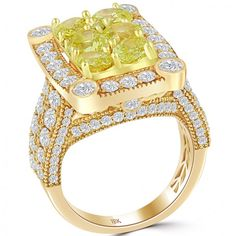5.88 Carat Fancy Intense Yellow Diamond Cluster Cocktail Ring 18k Rose Gold - Thumbnail 2