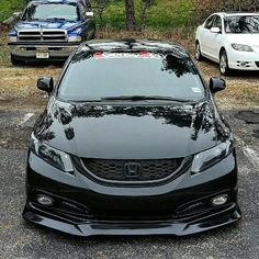 Damn, mean looking! Black Honda Civic, Honda Civic 2013, Honda Civic Car, Honda Cars, Honda S2000, Tuner Cars, Jdm Cars, Honda Civic Accessories, Carros Honda
