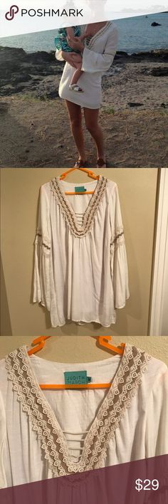 Judith March Lace Tunic Dress I love this item!! It has bell sleeves, low cut with lace up chest. Can be worn as a coverup or dress! Worn once on vacation and in perfect condition! It's lightweight and lined Judith March Dresses Mini
