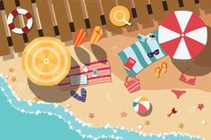 Illustration about Summer beach in flat design, sea side and beach items, vector illustration. Illustration of costume, ball, holiday - 45166699 Beach Illustration, Digital Illustration, Graphic Illustration, Mouse Illustration, Flat Design, 2d Design, Don Du Sang, Parasols, Beach Images