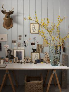 upholstered sawhorse table, Martin Bourne/ James Merrell