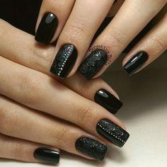 Black nail art, Black nails ideas, Black shellac nails, Evening dress nails, Evening nails, Matte nails with glossy pattern, Office nails, Pattern nails