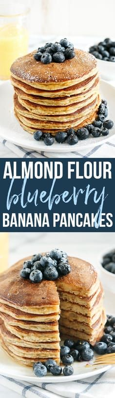 Start your morning with these fluffy blueberry banana pancakes that are grain-free, gluten-free and refined sugar-free made with almond flour for an easy delicious breakfast! Starting my mornings off Almond Pancakes, No Flour Pancakes, Pancakes And Waffles, Banana Pancakes, Paleo Pancakes, Banana Gluten Free Pancakes, Tortillas, Eat Yourself Skinny, Almond Flour Recipes