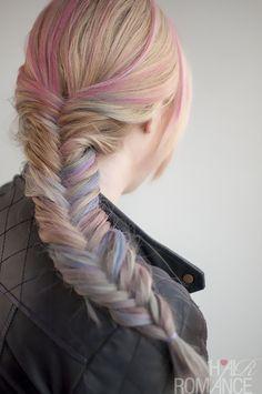 Hair Romance - hair chalk temporary colour and fishtail braid