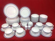 Nautica Signature Tablewares Portugal 45-Piece Set for EIGHT Navy Blue White #Nautica